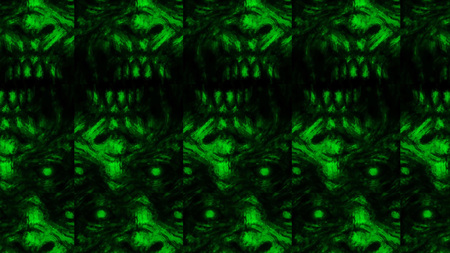 Scary zombie face pattern on black background. Illustration in horror genre. Abstraction monster character face. Green color. Zdjęcie Seryjne
