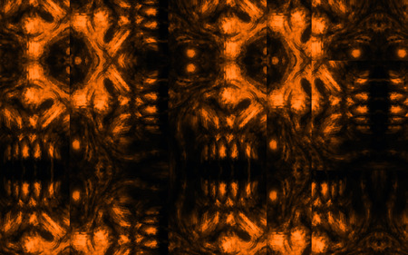 Scary zombie face pattern on black background. Illustration in horror genre. Abstraction monster character face. Orange color. Zdjęcie Seryjne
