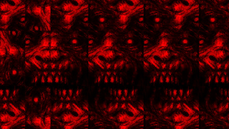 Scary zombie face pattern on black background. Illustration in horror genre. Abstraction monster character face. Red color.