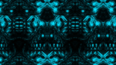 Scary zombie face pattern on black background. Illustration in horror genre. Abstraction monster character face.