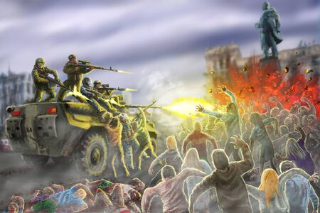 Scary zombie horde attack on an armored personnel carrier with shooting soldiers. Dead city illustration in horror genre.