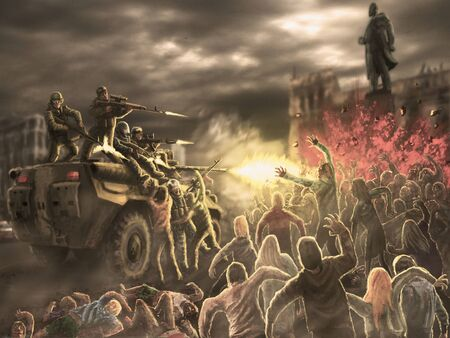 Angry zombie horde attack on an armored troop carrier with shooting soldiers. Gloomy city of the dead. Illustration in horror genre.