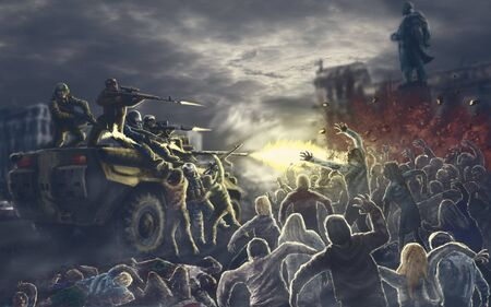 Onset of the army of darkness in the square of the infected city. Zombie apocalypse illustration in horror genre.