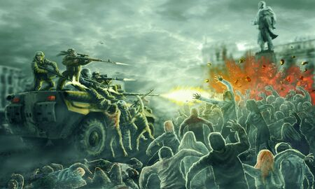 Zombie horde attack on an armored troop carrier with shooting soldiers. Gloomy city of the dead. Illustration in horror genre.