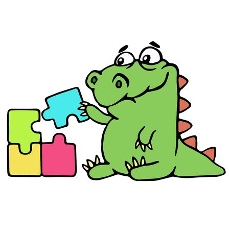 cute dinosaur assemble the puzzles. vector illustration. melancholy cartoon character.