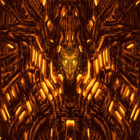 Alien wall with bas-relief and protruding robot head. Glowing lamps and mechanisms. Illustration in genre of horror fiction. Orange color background. Zdjęcie Seryjne