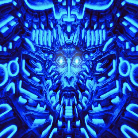 Electronic wall with bas-relief and protruding robot head. Illustration in genre of horror fiction. Glowing lamps and mechanisms under water. Blue color background.