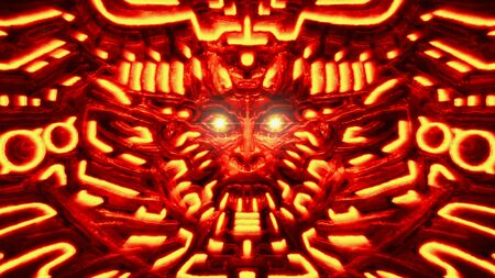 Cyber wall with robot head bas-relief in form of woman face. Glowing lines and patterns. Illustration in genre of horror fiction. Red color background.
