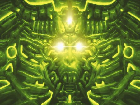 Computer monster with bas-relief and protruding robot head of woman. Bright laser beams and flashes of light. Illustration in genre of science fiction. Green color background.