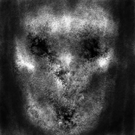 Demon alien evil face. Black and white illustration in horror and fiction genre with coal and noise effect. Zdjęcie Seryjne