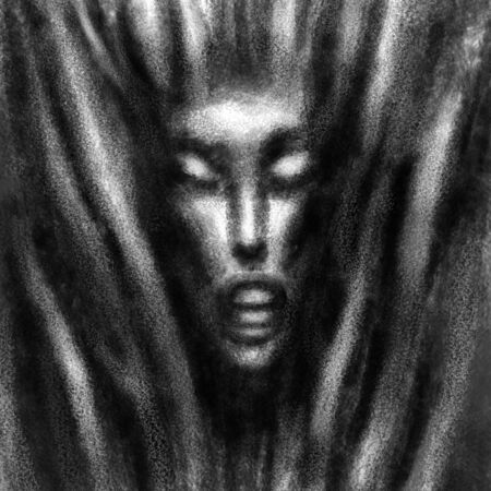 Beautiful female face on an abstract background. Black and white illustration in fantasy genre with coal and noise effect.
