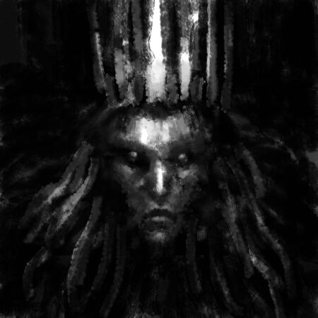 Queen of darkness with a crown on her head. Black and white illustration in horror genre with coal and noise effect.