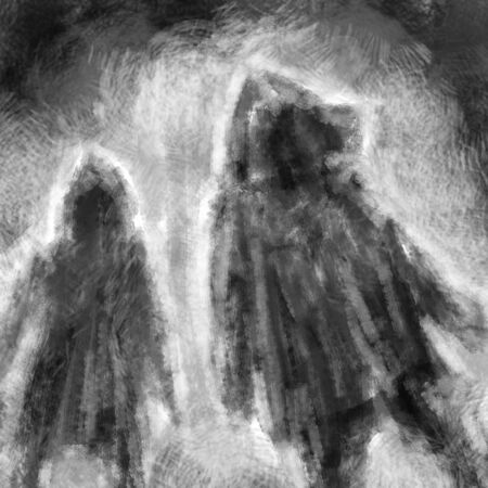 Two people in jackets with hoods and spooky in the night. Black and white illustration in horror genre with coal and noise effect. Zdjęcie Seryjne