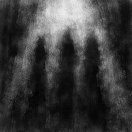 Three standing silhouettes of monks in the light inside the temple of fate. Black and white cover in horror genre with coal and noise effect. Zdjęcie Seryjne