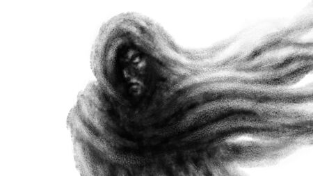 Gloomy woman in a hood and a scarf developing in the wind. Black and white illustration in fantasy genre with coal and noise effect. Zdjęcie Seryjne