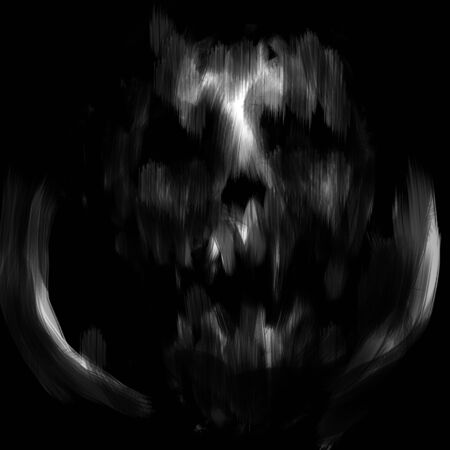 Dead spaceman face with open mouth. Black and white illustration in horror genre with coal and noise effect. Zdjęcie Seryjne