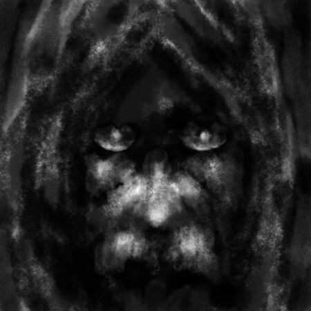 Old man face in hood. Illustration in the fantasy genre with the effect of coal and noise. Black and white.