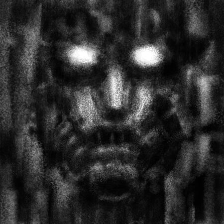 Scary robot face with evil eyes. Black and white illustration in horror fiction genre with coal and noise effect. Zdjęcie Seryjne