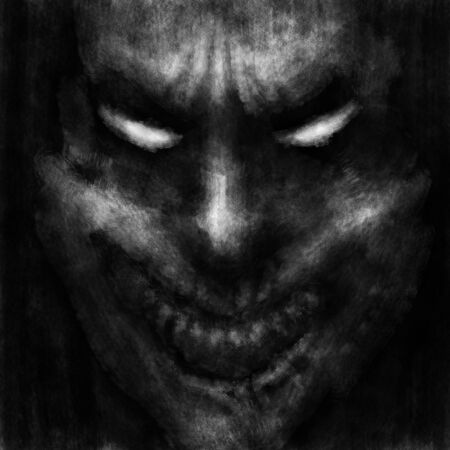 Scary clown face with opened mouth. Black and white illustration in horror genre with coal and noise effect.