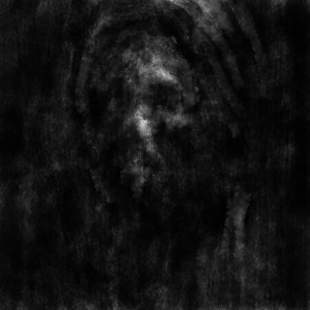 Skull face of monk in the dark. Black and white illustration in horror genre with coal and noise effect.