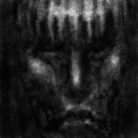 Savagery human face with dark eyes. Black and white illustration in horror genre with coal and noise effect. Zdjęcie Seryjne