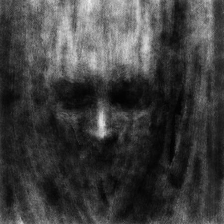 Darkly human face with black eyes. Illustration in horror genre with coal and noise effect.