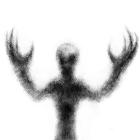 Creepy alien with arms raised. Black and white illustration in horror and fiction genre with coal and noise effect.