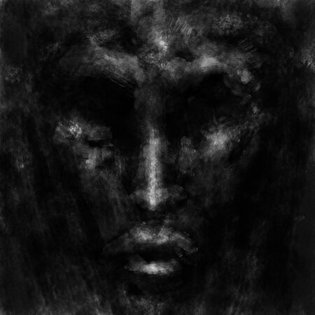 Black frightening face of a man looking forward. Black and white illustration in horror genre with coal and noise effect.