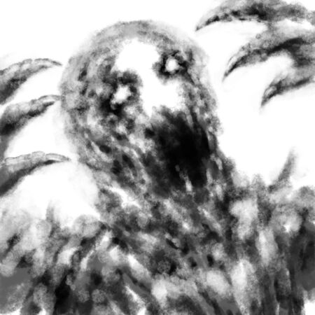 Screaming demon face in the darkness. Black and white illustration in horror genre with coal and noise effect.