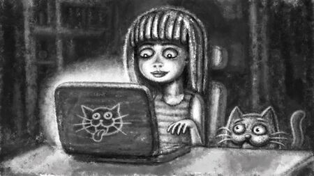 A cartoon ?ute girl is working on a laptop and a funny cat is spying on her. Cheerful illustration in a black-and-white background.