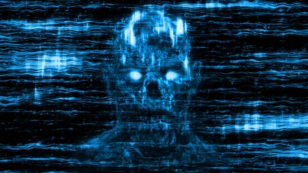 Evil neon skull abstraction from horizontal lines and noise. Blue background color. Illustration in genre of horror. Stockfoto