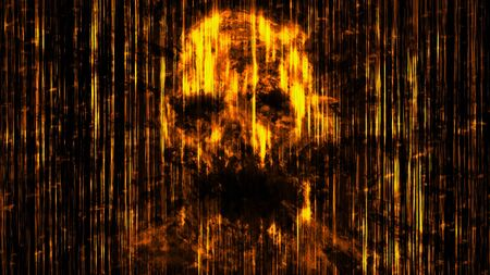 Scary neon skull abstraction from horizontal lines. Orange background color. Illustration in genre of horror. Stockfoto