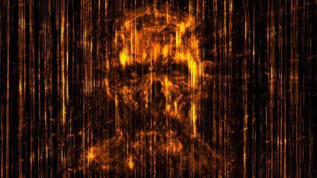 Scary neon skull abstraction from horizontal lines and noise. Orange background color. Illustration in genre of horror.