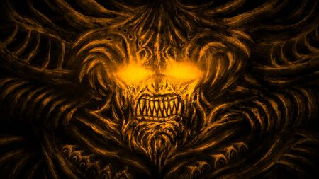 Terrible demon with horns and burning eyes crawls out from hell. Illustration in the genre of fantasy. Orange background color.
