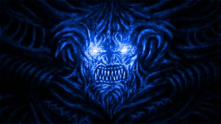 Angry devil with sparkling eyes. Illustration in the genre of horror. Blue background color. Stockfoto