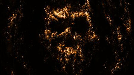 Golden human face rises from the mud and screams descending to the depths.. Genre of horror. Black and orange color background.