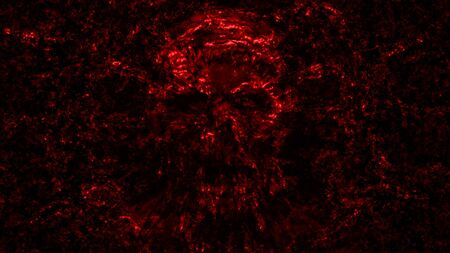 Bloody skull abstraction into small debris. Illustration in genre of horror. Scary character head. Red background color.
