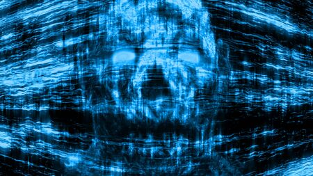 Evil neon skull abstraction from lines and noise. Illustration in genre of horror. Blue background color. Stockfoto