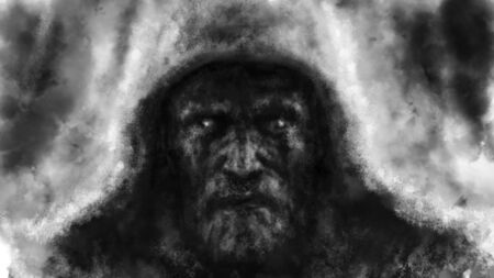The frightening face of a man in hood. Black and white illustration in horror fantasy genre with coal and noise effect.