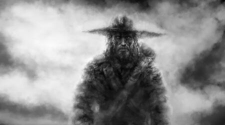 Strange traveler in a big hat. Male character walking in the fog. Black and white illustration. Horror fantasy genre with coal and noise effect.