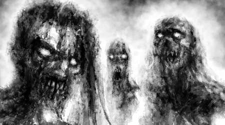 Scary demonic zombies with glowing eyes. Illustration in horror fantasy genre with grainy appearance effect. Black and white background.