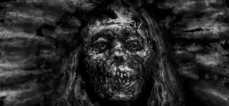 The face of a mummy with a broken skull. Illustration in horror genre with coal and noise effect. Black and white background colors. Stockfoto