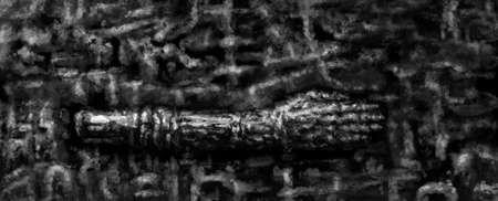Bronze hand on a patterned background. Illustration in horror genre with coal and noise effect. Black and white background colors.