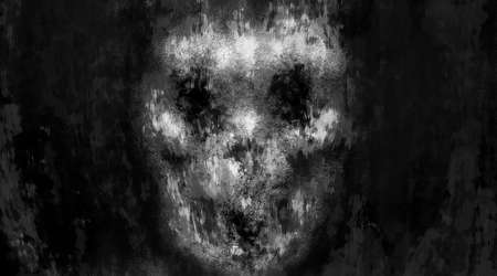 Scary illustration of evil skull face. Dark theme concept art. Black and white background. Horror image for Halloween. Grunge, dirty, coal and noise effects. Gloomy character from nightmares.