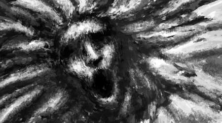 Illustration of scary woman face. Black and white horror genre picture. Spooky image of beast from nightmares. Gloomy character concept. Fantasy drawing for creepy Halloween. Coal and noise effects.