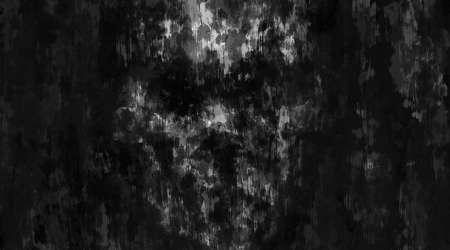 Scary animation of evil skull face. Dark theme concept art. Black and white background .. Horror image for Halloween. Grunge, coal, dirty and noise effects. Gloomy character from nightmares. Stockfoto