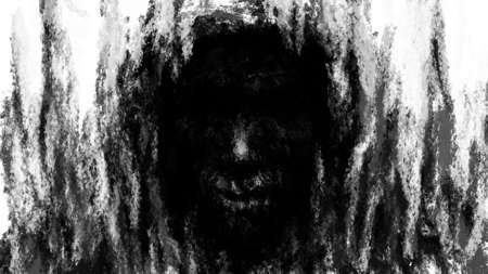 Hellish demon face in hood. Black and white background. Illustration in genre of horror. Spooky nightmares image. Gloomy character concept art. Fantasy drawing for Halloween. Coal and noise effects.