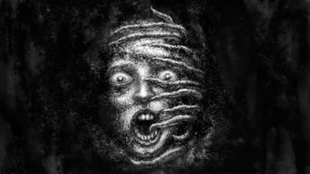 Illustration of scared woman with tentacles on her face. Black and white horror genre picture. Spooky nightmares image. Gloomy character concept. Fantasy drawing for Halloween. Coal and noise effects. Stockfoto