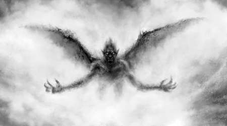 Illustration of scary flying vampire with wings. Black and white horror genre picture. Spooky face of beast from nightmares. Fantasy drawing for creepy Halloween. Grunge, coal and noise effects. Stockfoto