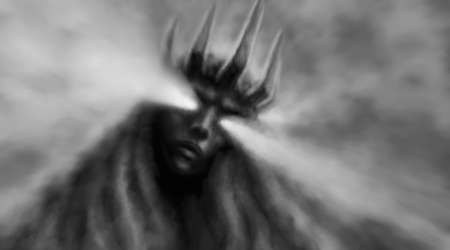 Goddess of darkness Horror fantasy illustration with blur effects. Evil queen with crown on her head and looks down. Scary female face with glowing eyes. Gloomy character concept art. Stockfoto